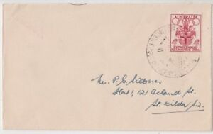 Stamp 1956 Olympic Games 4d on plain cover Equestrian mobile PO No 2 postmark