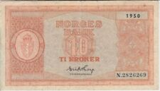 Norway banknote P26b-6269 10 Kroner 1950 pfx N, F   We Combine