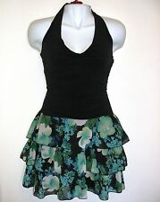 NEW Party Cocktail Dress Halter Black Top Green Flowers Tiered Mini Skirt Small