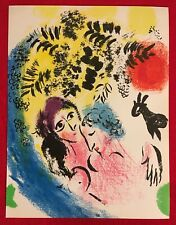 Marc Chagall,Lowers With Red Sun, Original Stone Lithograph,1963,Mourlot Paris