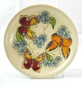 Beautiful Moorcroft Butterfly Design Beige Dinner Plate! Made in England!!