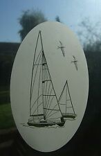 """Frosted glass look YACHT window decoration 8""""x12"""" / 20x28cm"""