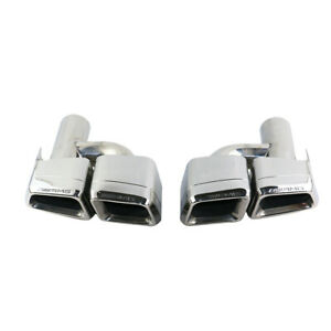 Exhaust Double Slant Tailpipe H-type Tails Tip For MERCEDES BENZ E63 AMG S.S 304
