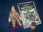 Schoenhut Harlequin Clown w Barrel & Whip Excellent Face Good Suit + Catalogue