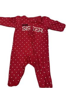 Child Of Mine Carters Red With Little Sister On Front Sleeper Sz 3/6M