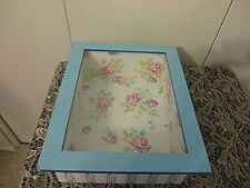 Vtg Wood Hinged Glass Lid Box Gifts Jewelry Display Storage Case Roses
