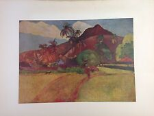 "1954 Vintage Full Color Art Plate ""TAHITIAN LANDSCAPE"" GAUGUIN LOVELY Lithograph"