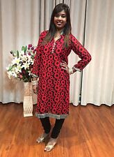 "40"" M Kurti Kurthy Top Boho Tunic Kaftan Indian Bollywood Kurtha Maroon Black"