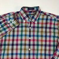 Alan Flusser Button Up Shirt Men's Large Long Sleeve Checkered Casual Cotton