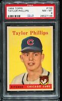 1958 Topps Baseball #159 TAYLOR PHILLIPS Chicago Cubs PSA 8 NM-MT