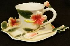 Jeanne Reed Porcelain Majolica Hibiscus Floral Tea Cup, Saucer & Stirring Spoon