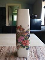 "Satsuma Vintage Crackle Finish 9.5"" Tall Golden Peacock Floral Vase EUC B500660"