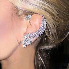 Asymmetric Feather Ear Bone Clip Cuff Simulate Diamond Engagement Silver Earring