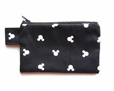 Mickey Mouse Wallet Coin Change Purse Disney Black Zipper Zip Small Pouch Cotton