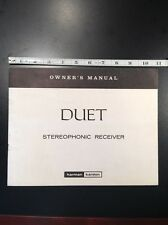 Harman Kardon Duet Stereo Receiver Original Owners Manual 7 Pages