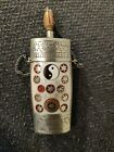 Yak bone Tibetan snuff bottles silver colour inlaid stone Yin Yang with spoon