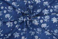 Indigo Block Print Cotton Fabric By Yard Indian Natural Sanganeri Fabric Throw
