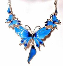 BLUE BUTTERFLY BIB NECKLACE fairy wings gold enamel statement earring set new H2