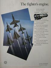 3/1989 PUB GE GENERAL ELECTRIC F404 ENGINE RAFALE F-18 X-29 GRIPEN ORIGINAL AD