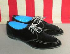 Vintage 1960s Js Raub Shoes Black Leather Suede Flats Sz 6.5 Blucher New Nos Box