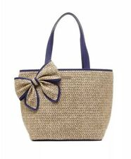 Kate Spade Belle Place Woven Straw Bow Natural And Blue Tote Bag PXRU5564