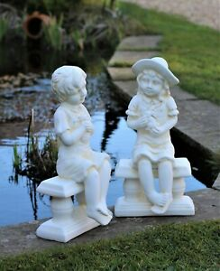 Garden Ornament Girl Boy Cherub Statue Decor Ceramic Decoration Large