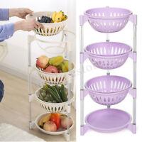 4 Tier Plastic Fruit Storage Basket Vegetable Organiser Kitchen Rack Stand Shelf