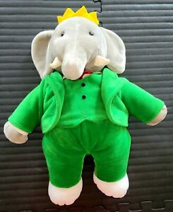 Two (Red and Green) King Babar ''14 Elephant Plush Stuffed Animal Toys GUND 1988