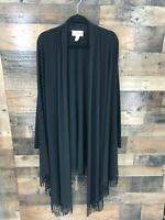 Joseph Ribcoff Women's Black Long Sleeve Open Front Asymmetrical Drape Fringe