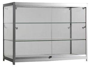 Verkaufsvitrine Alu Vitrine Glas LED Thekenvitrine Schmuck Glasvitrine 120x50x94