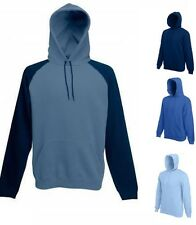 Fruit Of The Loom Plain BLUE Hoodie Hoody Hooded Sweat