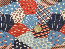 Vintage Full Feedsack: Cheater Patchwork Pattern in Red, Blue and White