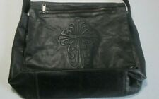 Wilson's Black Leather Flap-Over Messenger Cross-body Bag w/ Snaps - Distressed