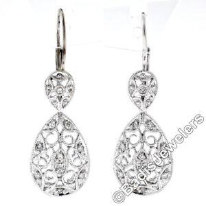 14K White Gold 0.10ctw Round Diamond Milgrain Open Lace Teardrop Dangle Earrings