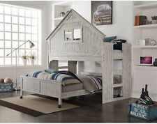 Kids Full Size Bed w/Loft Clubhouse Brushed Driftwood Finish Toddlers Bunk Beds