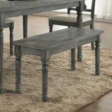 New listing Rustic Farmhouse Dining Bench Wooden Living Room Breakfast Nook Seat Dark Gray