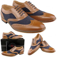 Mens Gents New Tan Navy Lace Up Smart Gatsby Brogues Shoes 6 7 8 9 10 11 12
