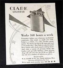 1927 OLD MAGAZINE PRINT AD, CLARK LIGHTER, A SAFE SURE-FIRE SMOKE IGNITER, ART!
