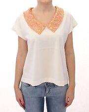 NWT $600 DOLCE & GABBANA White Brocade Gold Collar T-Shirt Top Blouse IT36 / US2