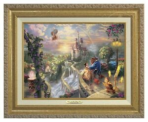Thomas Kinkade Beauty Beast Falling In Love 12 x 16 Canvas Classic (Gold Frame)