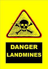 DANGER LAND MINES Warning Sign [Plastic Laminated Paper Card]