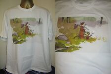 CALVIN AND HOBBES- LET'S GO EXPLORING  PRINT T SHIRT- WHITE - EXTRA LARGE