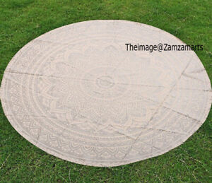 Indian Mandala Round Yoga Mat Boho Beach Blanket White & Silver Tapestry Throw