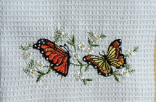 Butterflies Tea Towel Embroidered 100% Cotton Butterfly Yellow Orange Flowers