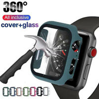 Watch Cover Case for Apple Watch 6/5/4 40/44MM PC Bumper with Glass Protector ON