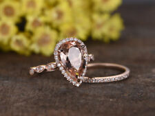 2.3Ct Pear Cut Peach Morganite Bridal Wedding Ring Set 14k Rose Gold Finish