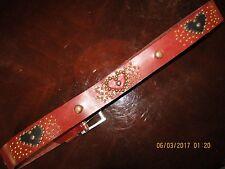 Ladies Vintage Handmade Cognac Leather Belt, Heart Inlays, Jewels, Studs, 34-35