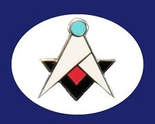 Masonic Square & Compass Blue Lodge Quad New Style Freemason Lapel Pin New