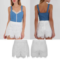 New Women Embroidery Floral High Waist Shorts Lace Crochet Short Hot Pants UK