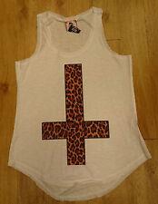 Monkey Business/ Ladies Vest Top/ White/ Leopard print cross/ Size M/L - 682